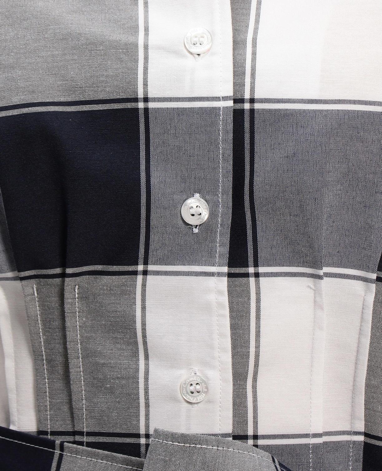 イタリアンチェックウエストタックリボン付半袖シャツ
