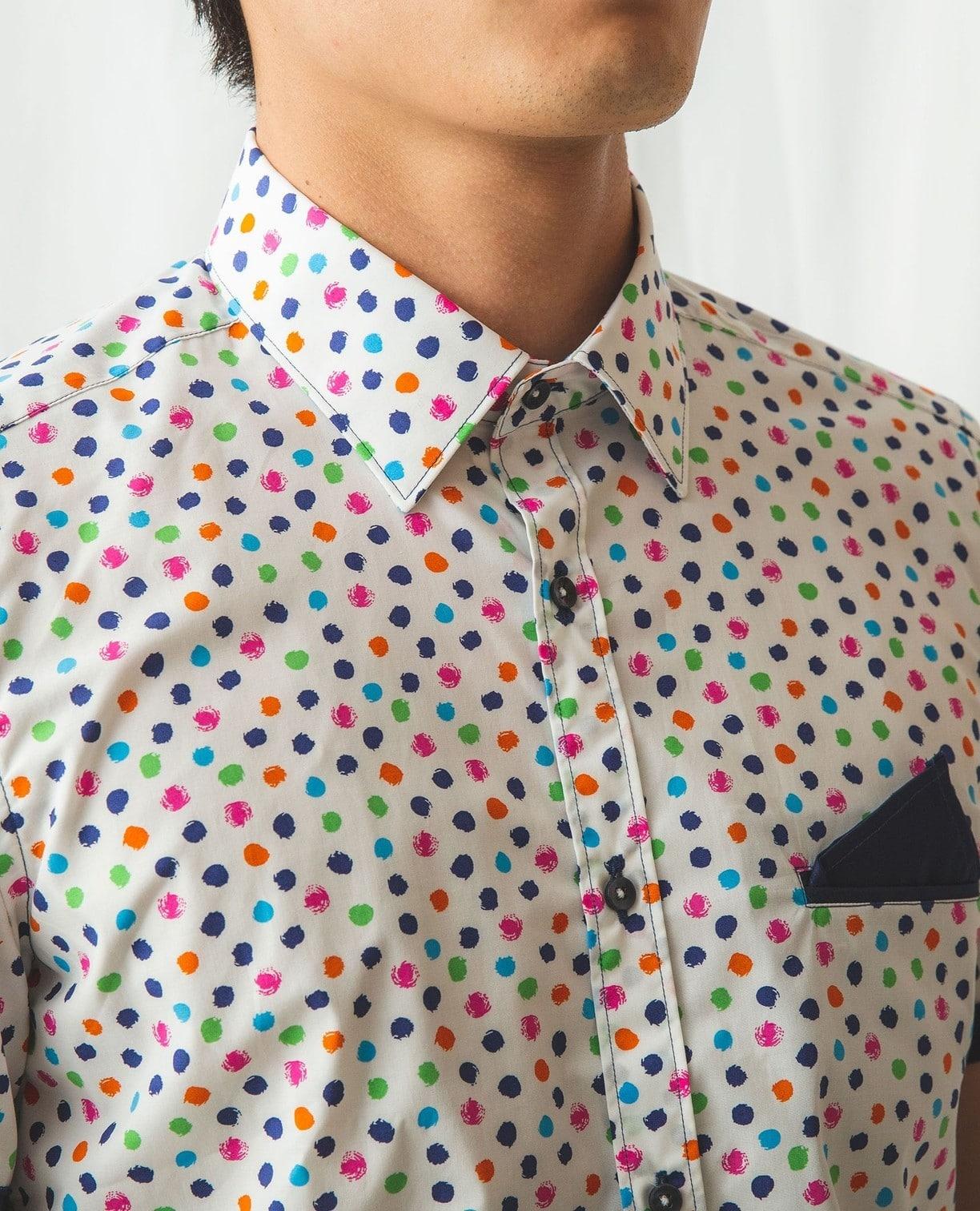 ポケットチーフ付きカラフルドット半袖シャツ