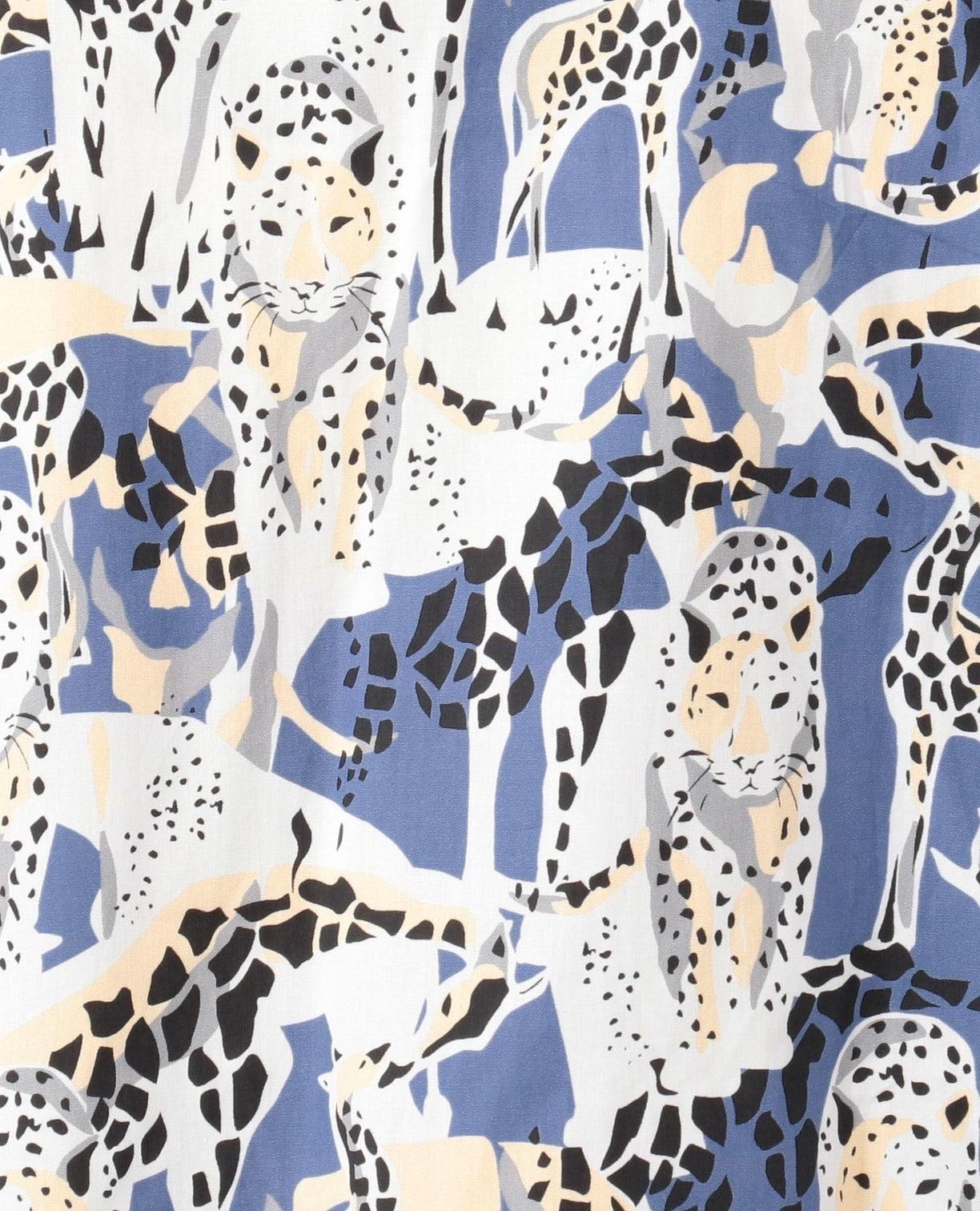 サバンナプリント七分袖ビッグシャツ