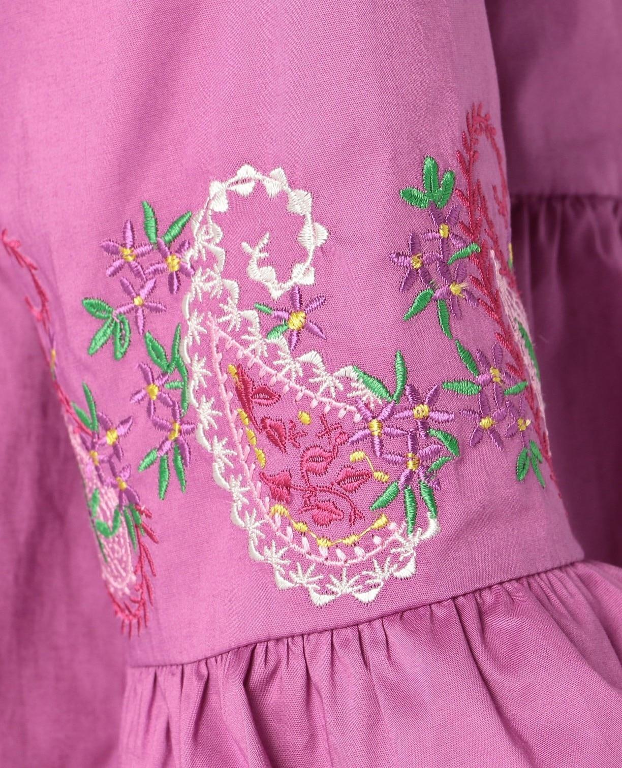 ペイズリー刺繍フロントリボンブラウス
