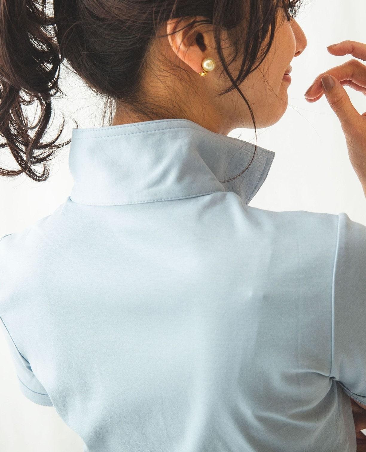 スタンドカラー半袖プルオーバーカットソー