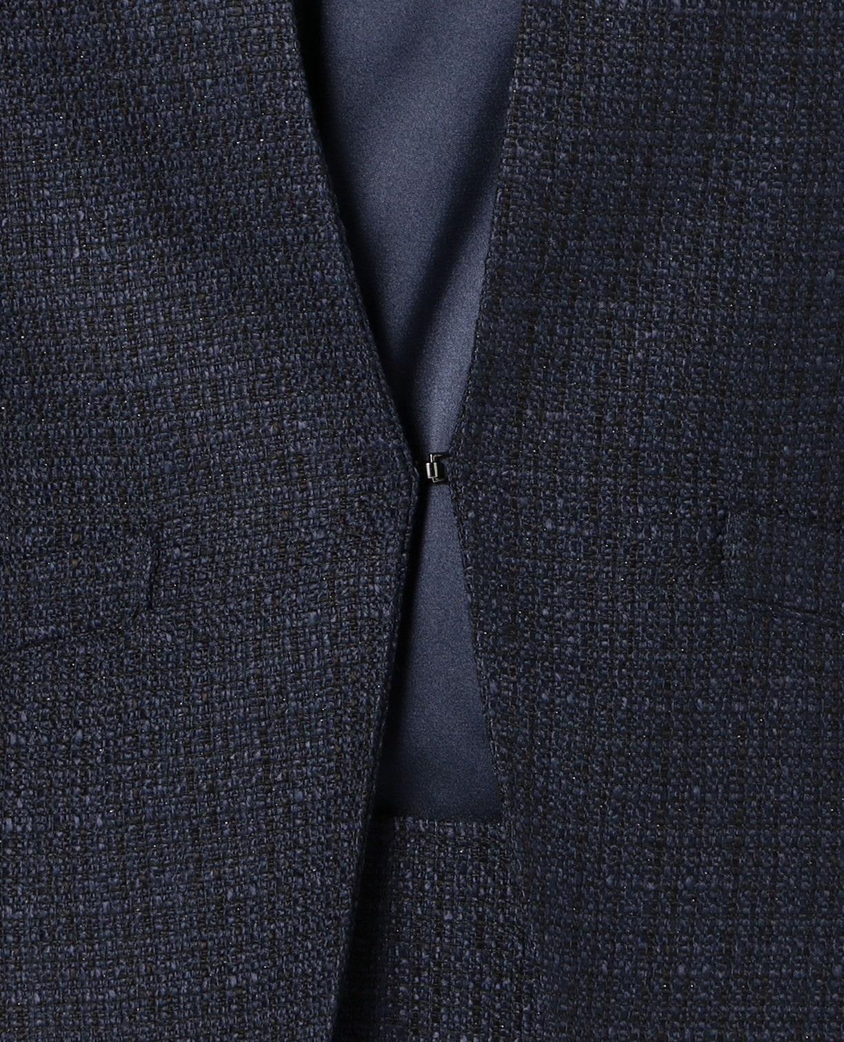 《セットアップスーツ対応》ツィードジャケット プラスTブラウス