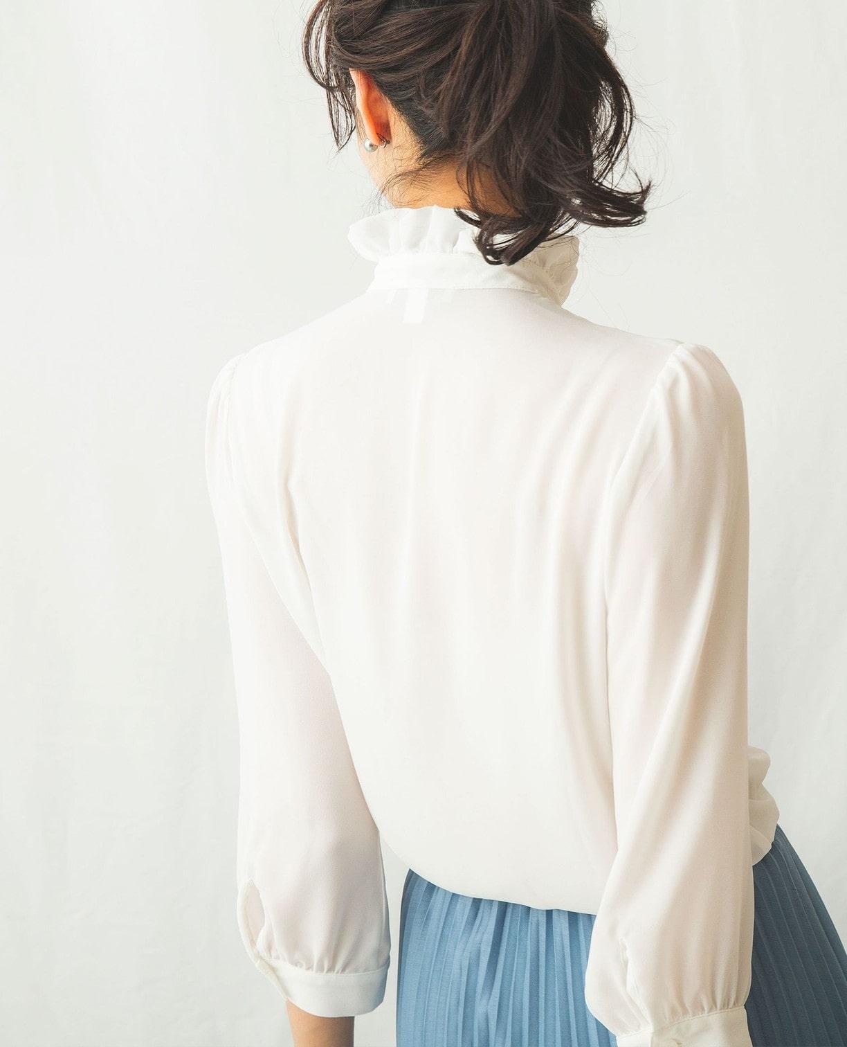 ソフトジョーゼット衿フリルブラウス