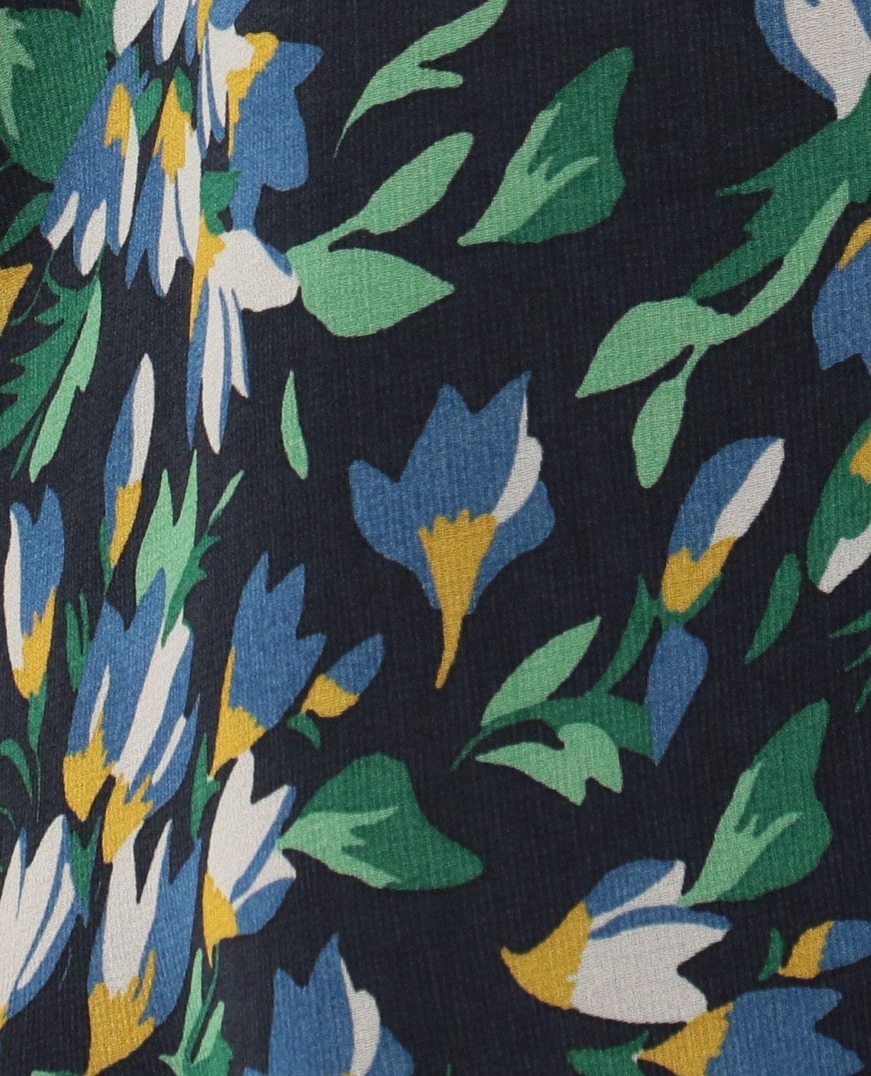 《セットアップ対応》シフォンフラワープリント七分袖ブラウス