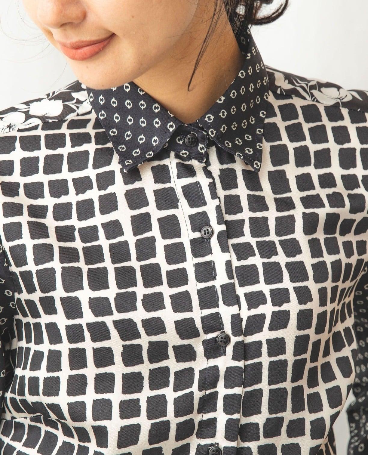 モノトーンミックスプリント長袖シャツ