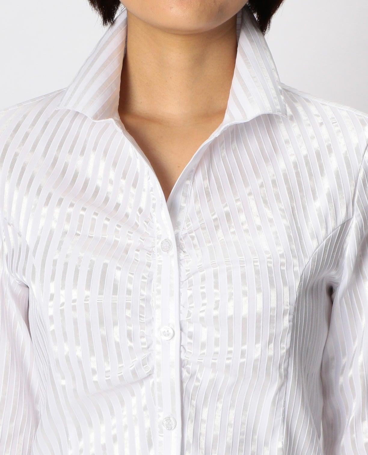 サテンストライプスタンドカラー長袖シャツ