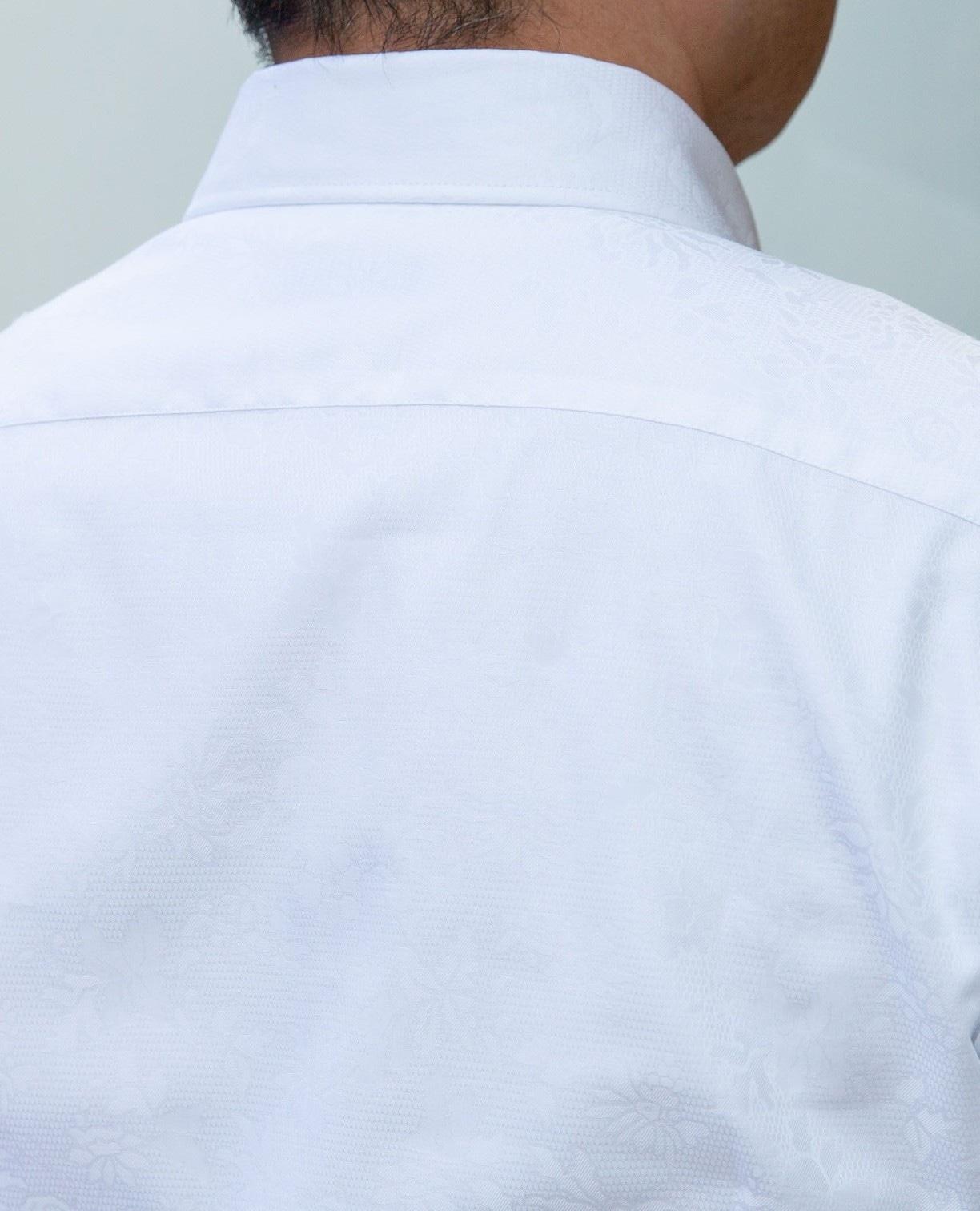 花柄ジャカード長袖シャツ