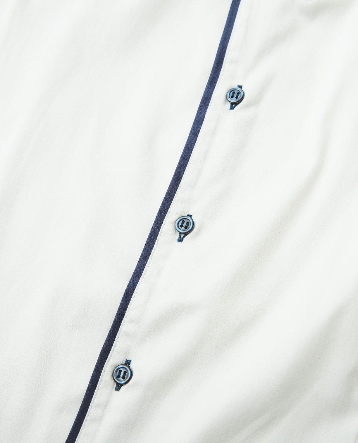 スタンドカラーパイピング半袖シャツ