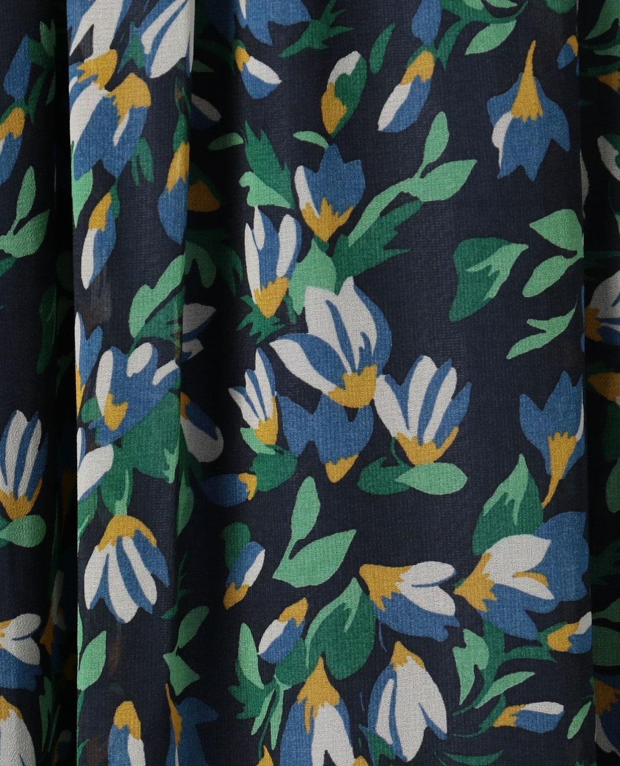 《セットアップ対応》シフォンフラワープリントスカート