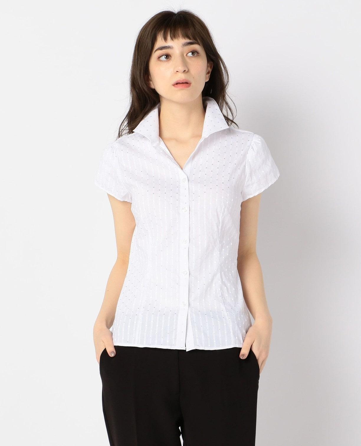 ドットジャガードストレッチスタンドカラー半袖シャツ