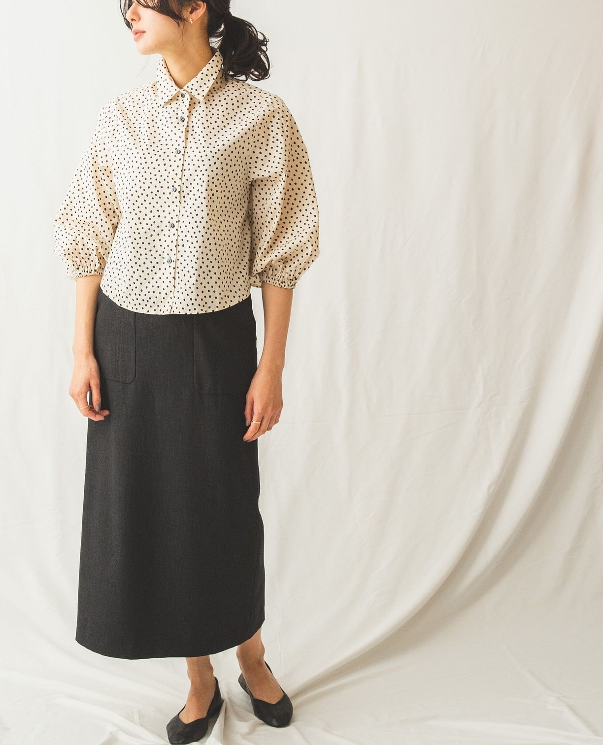 綿系ミニドットコンパクト丈シャツ