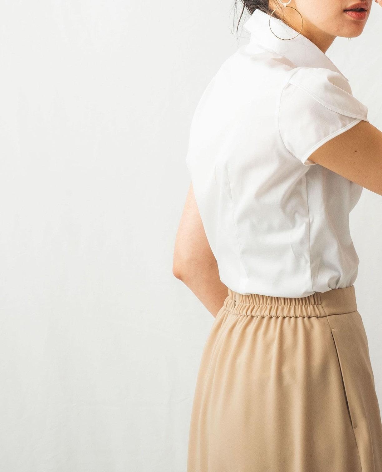 コットンツイルチューリップ袖半袖シャツ
