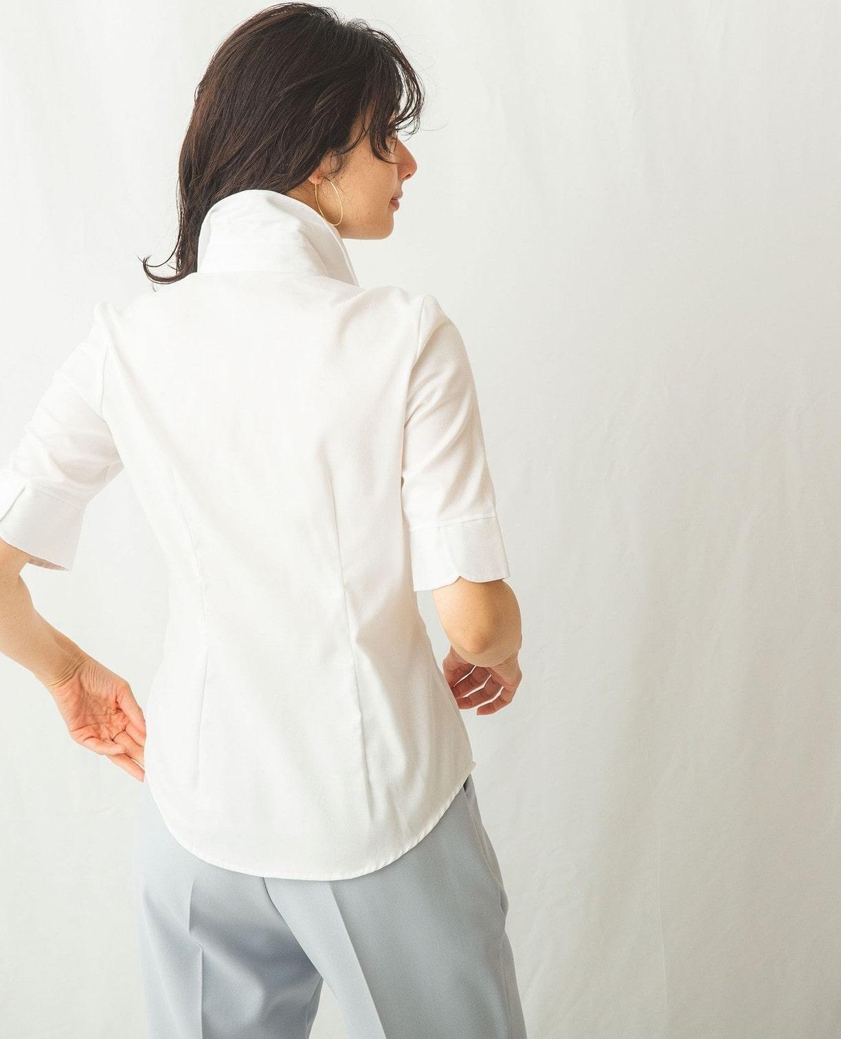 襟付フリルオックス半袖シャツ