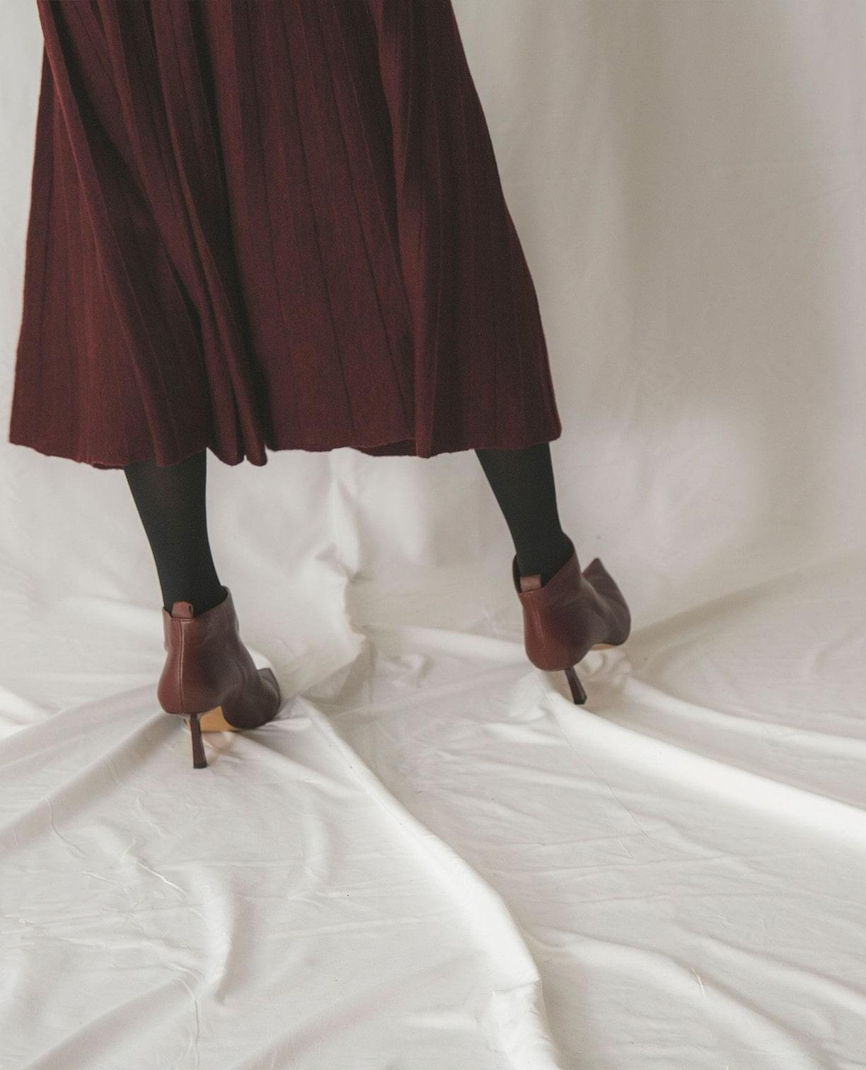 《セットアップ対応》プリーツ風ニットスカート