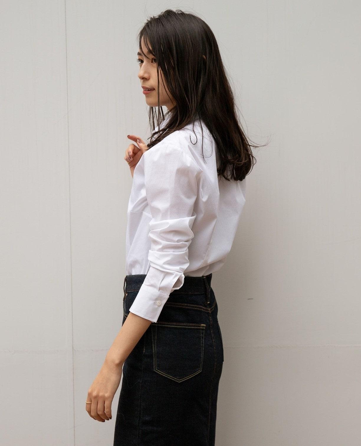 フロントフラワー刺繍長袖シャツ