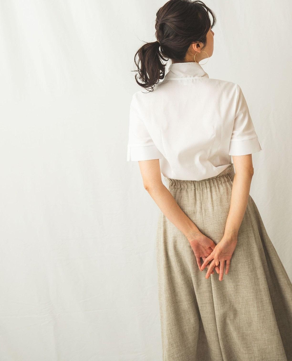 綿系ドビー半袖ボウタイシャツブラウス