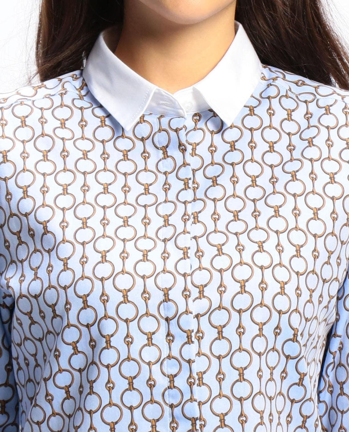 ビットプリントホワイトカラー長袖シャツ