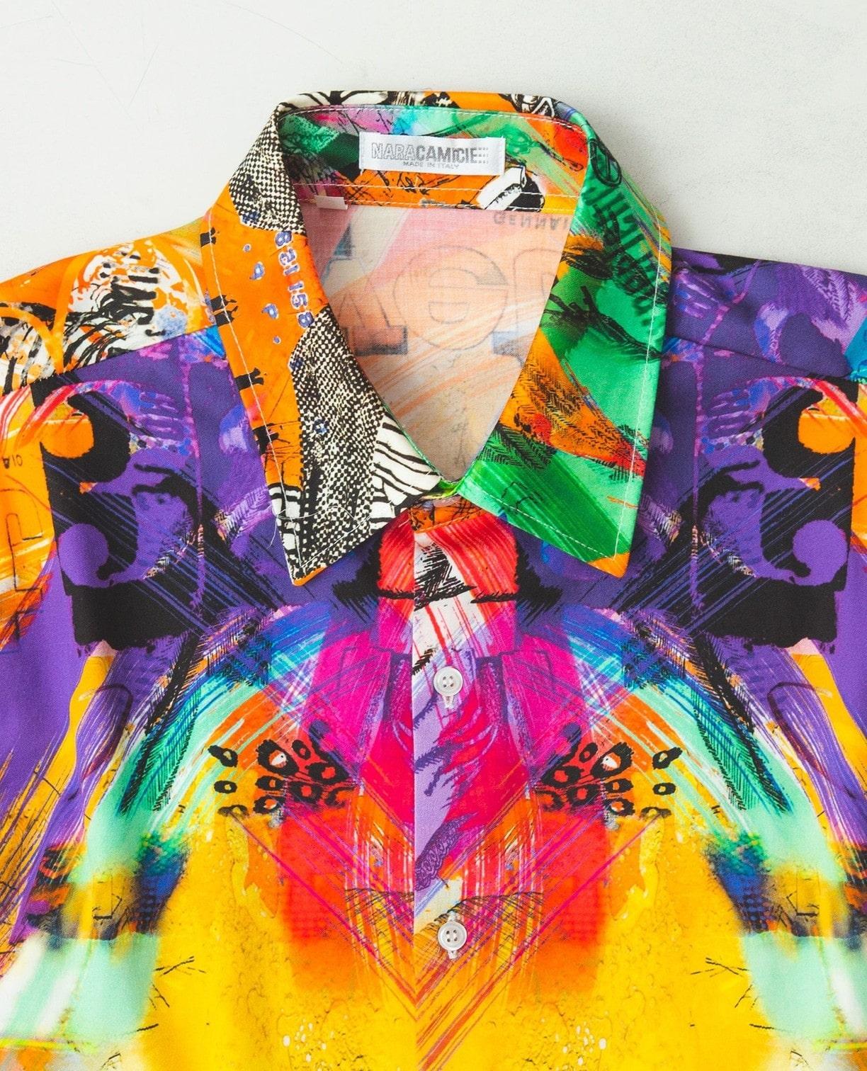 カラフルプリント長袖シャツ