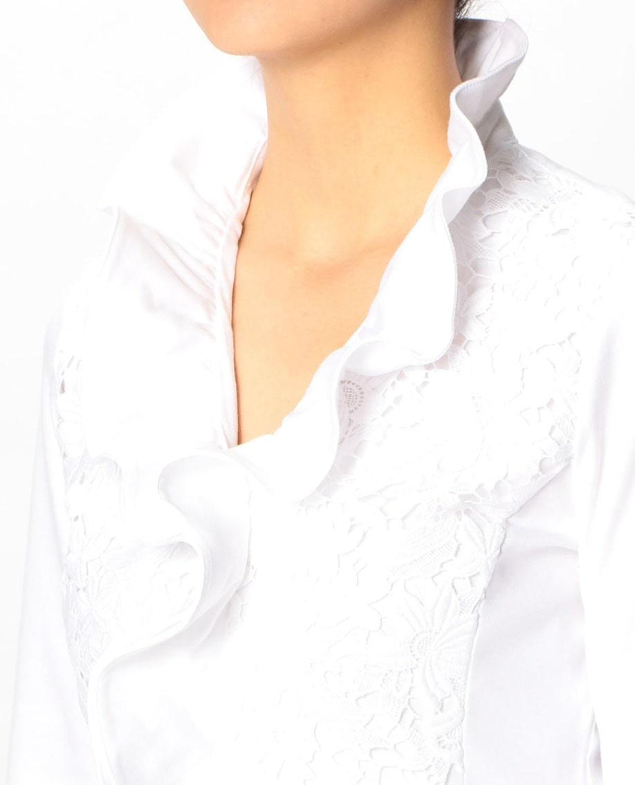 フロントレースフリル衿七分袖カットソーブラウス