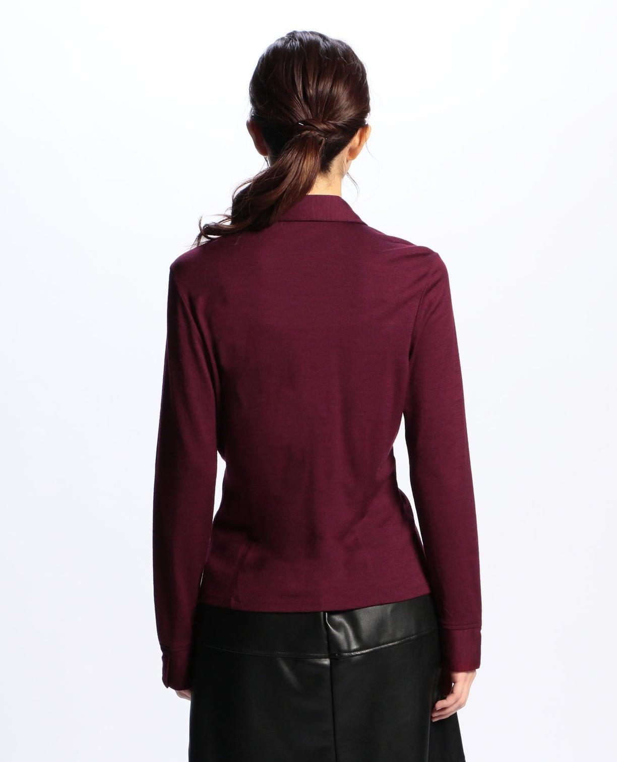 ウールジャージ—襟付フリルプルオーバーカットソーシャツ