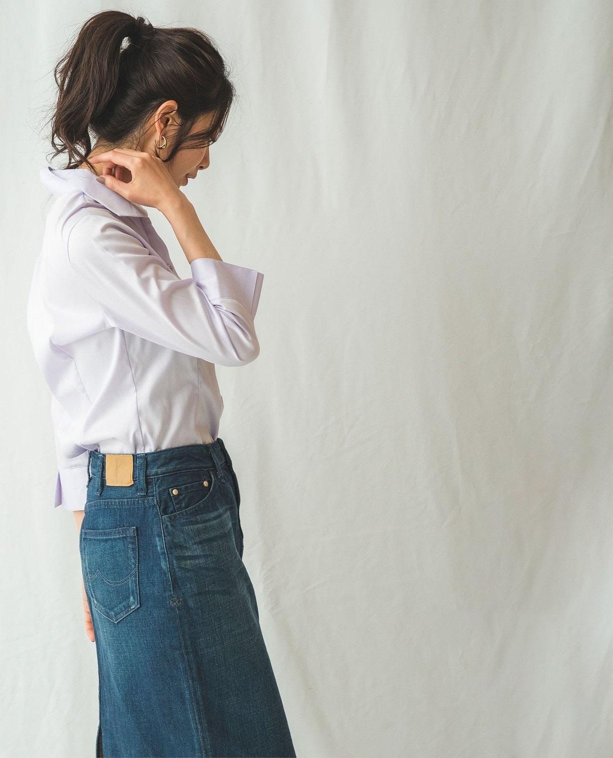 コットンツイルスタンド衿シャツ