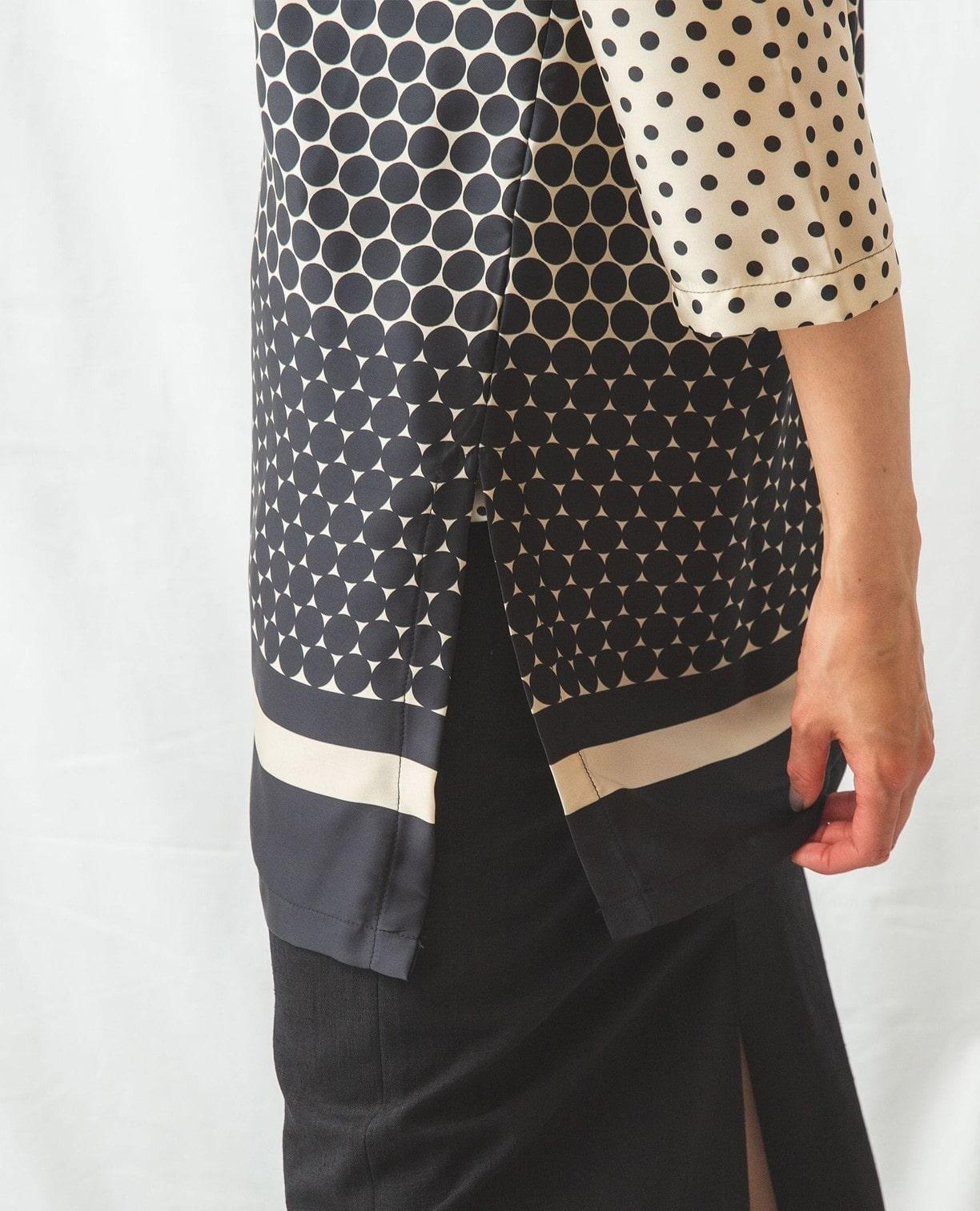 グラデーションドット柄サテン5分袖シャツ