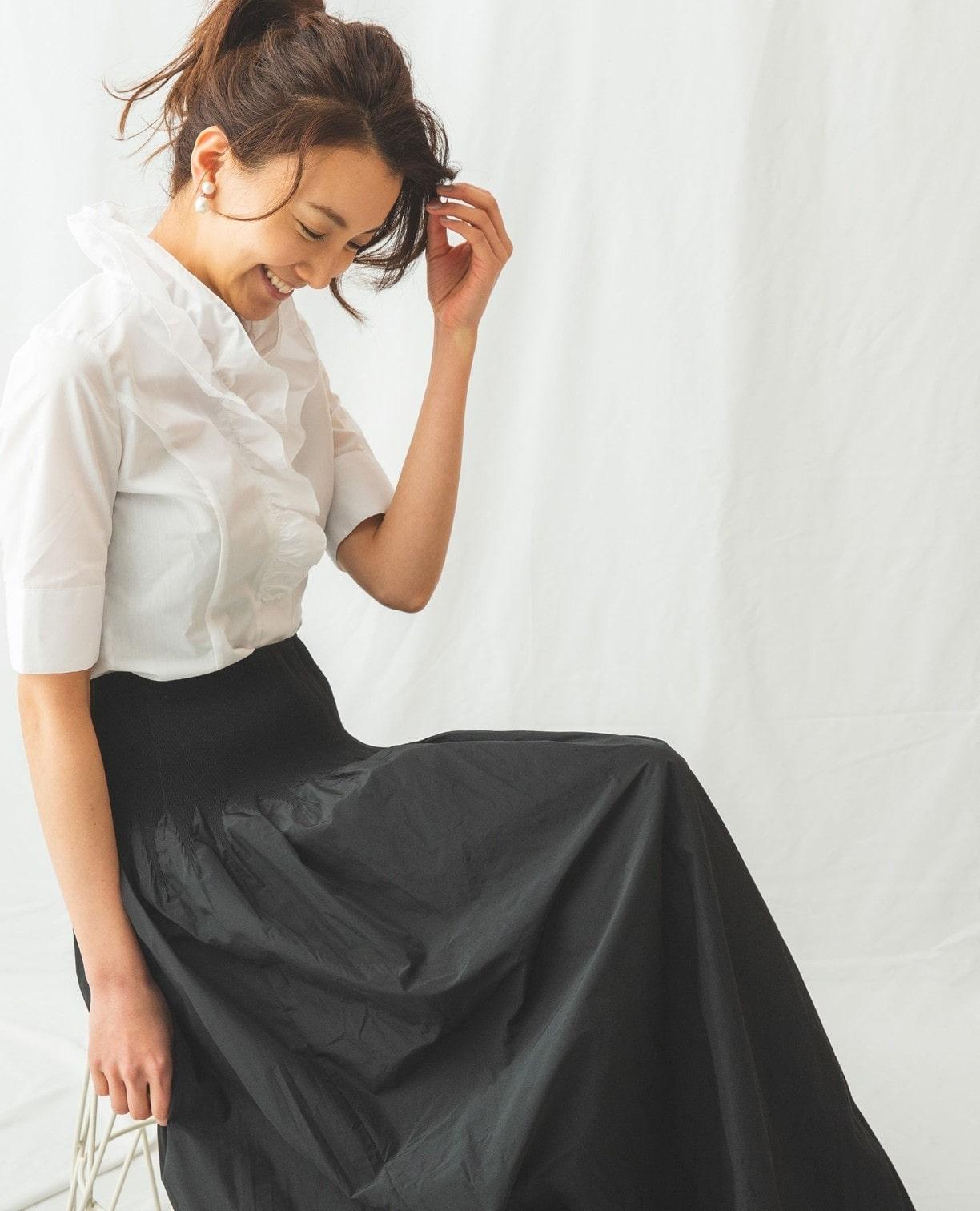 衿フリル半袖シャツ