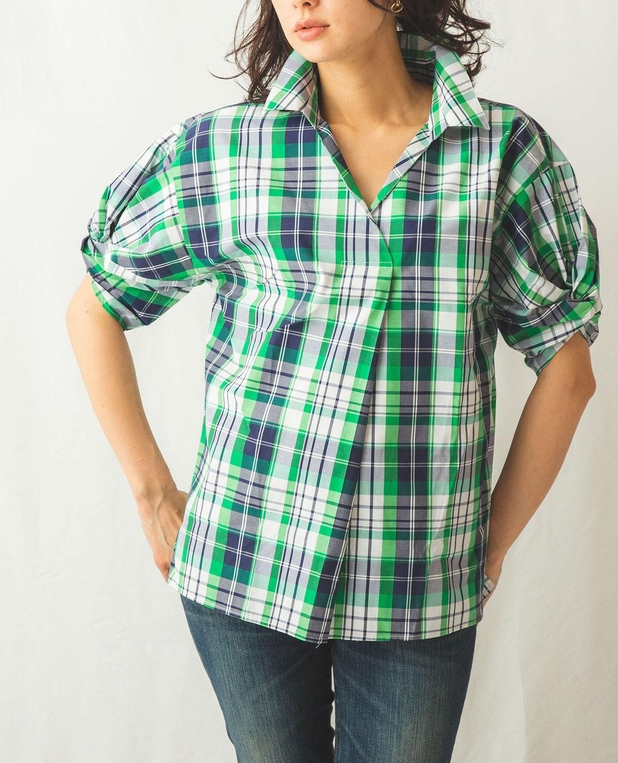 サマーチェックボリュームスリーブ半袖シャツ