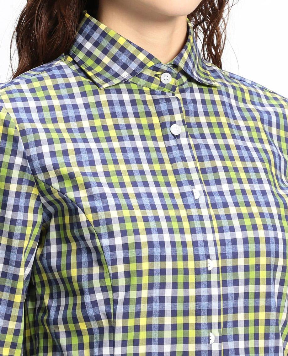 カラーギンガムチェック七分袖シャツ