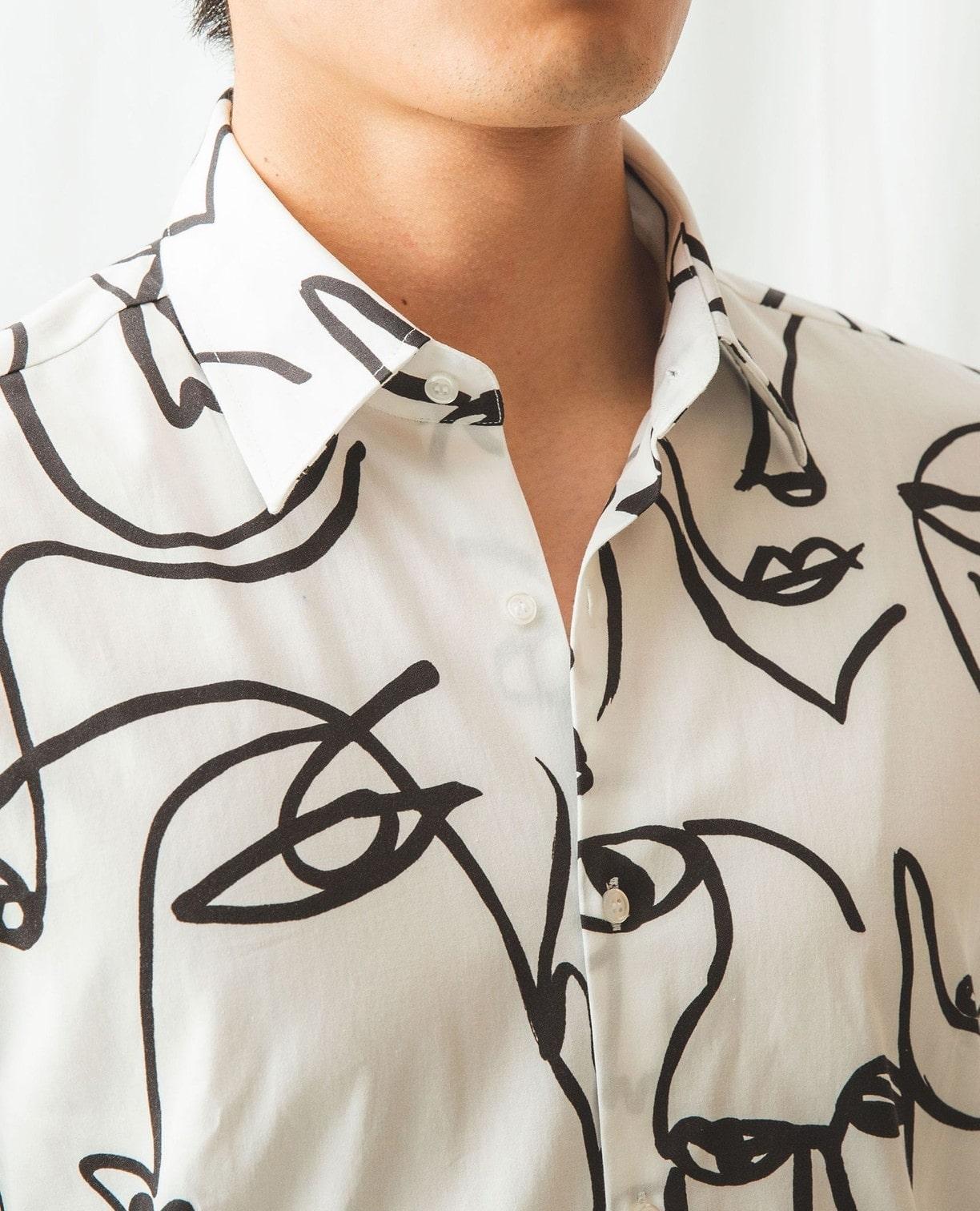 線描きフェイス柄長袖シャツ