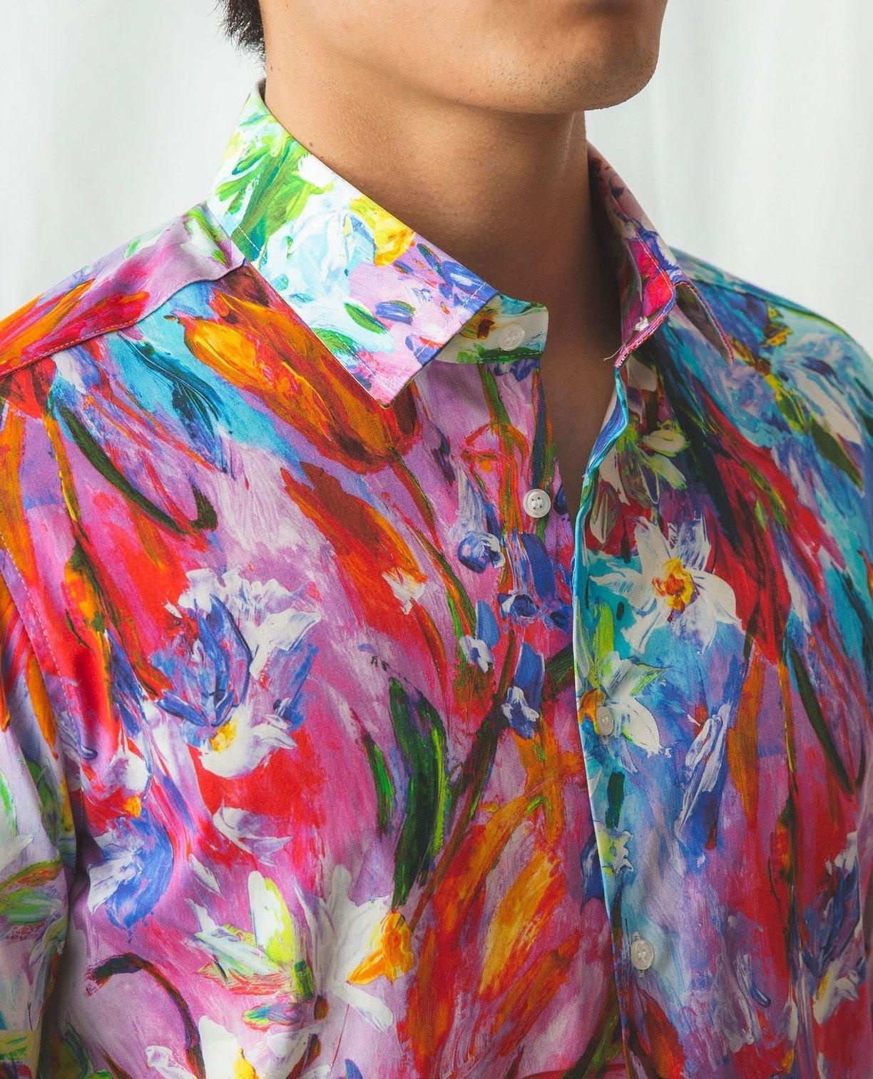 絵画風花柄長袖シャツ