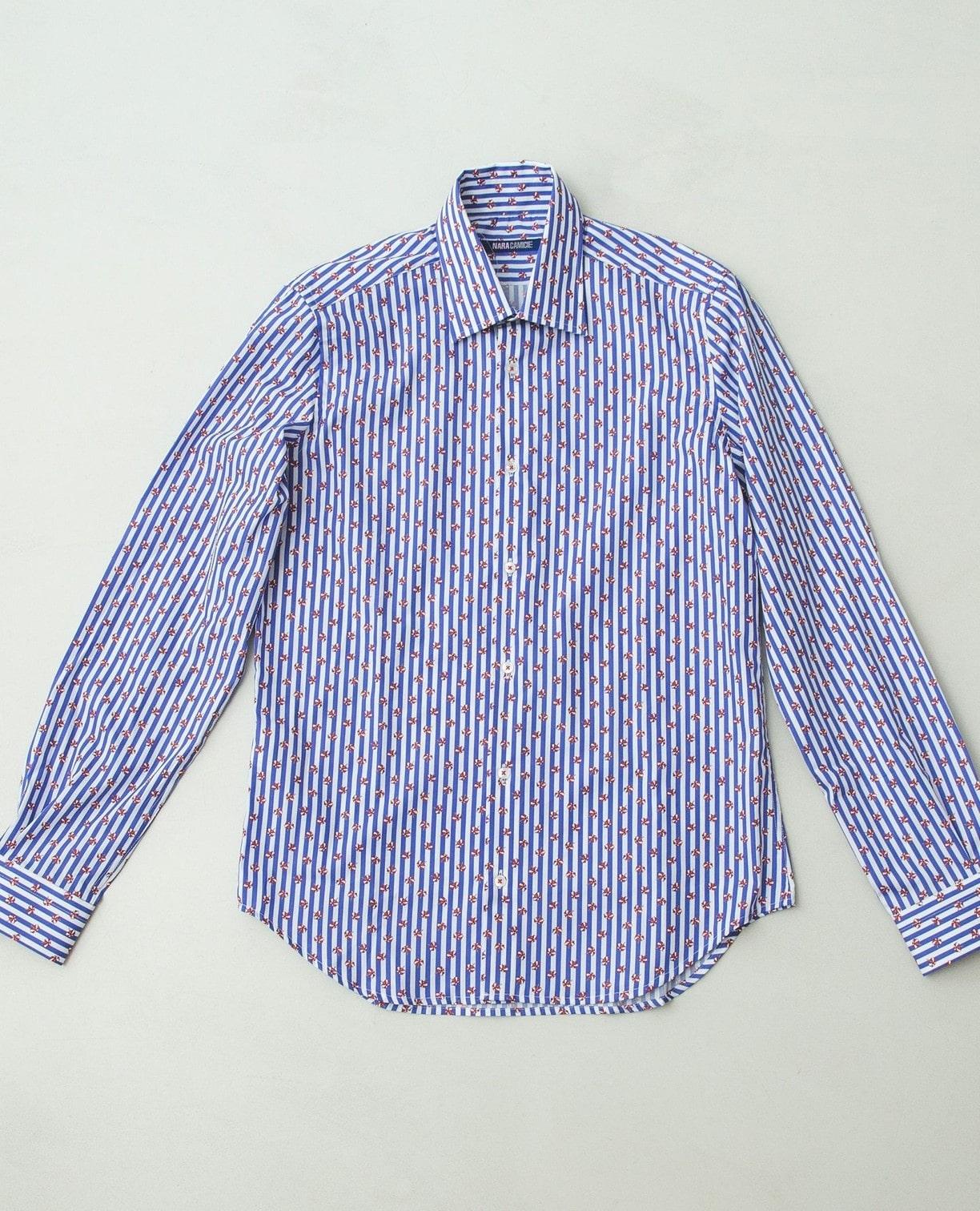 小柄プリント長袖シャツ