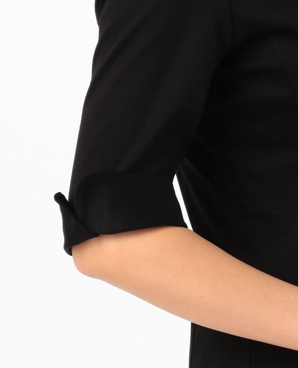 台衿スムース衿付フリルブラウス
