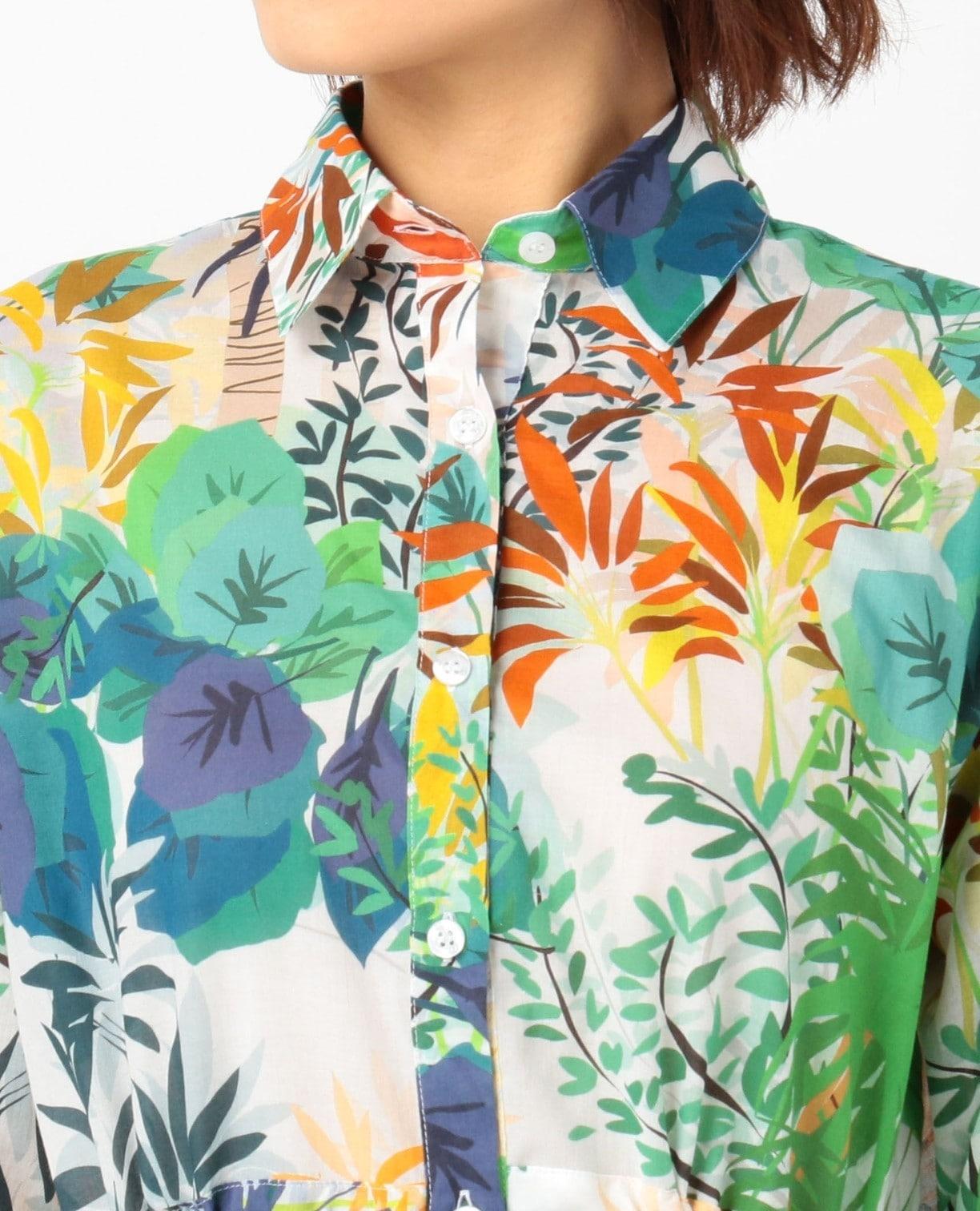 トロピカル綿ボイルプリントロングシャツ