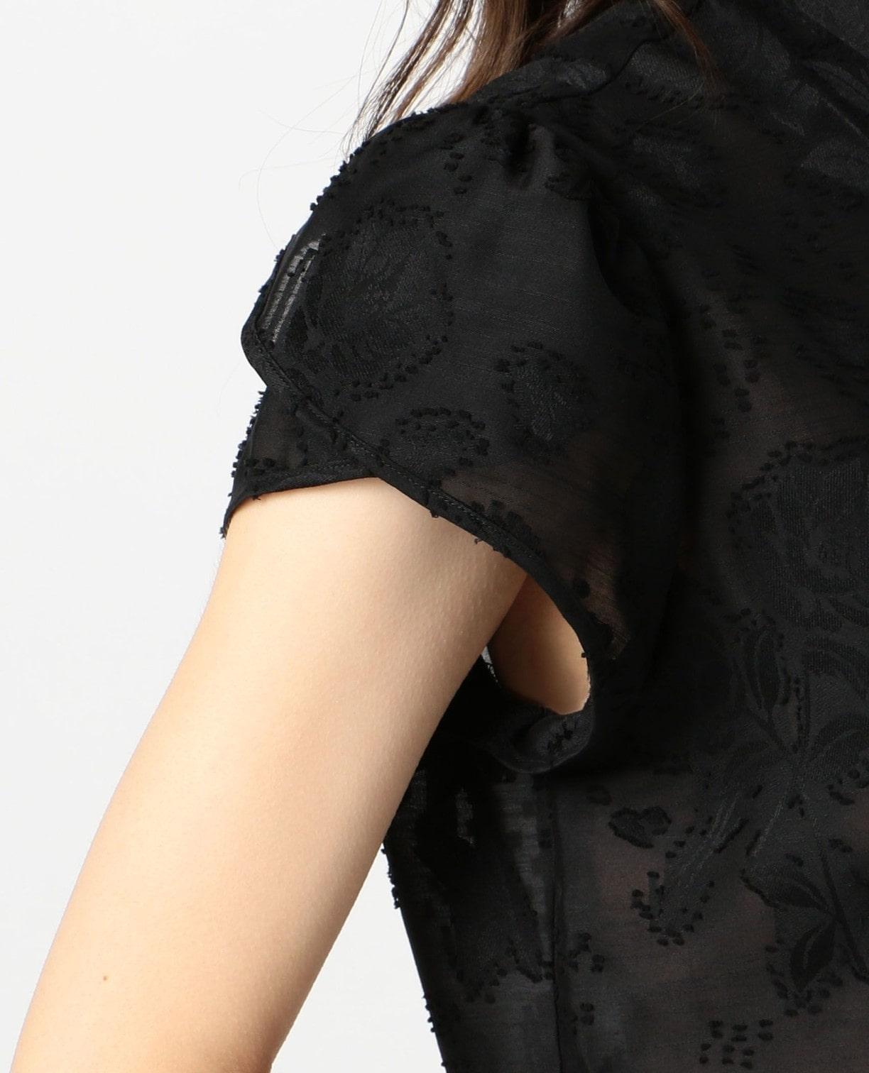 ポリエステルフラワージャガード半袖シャツ