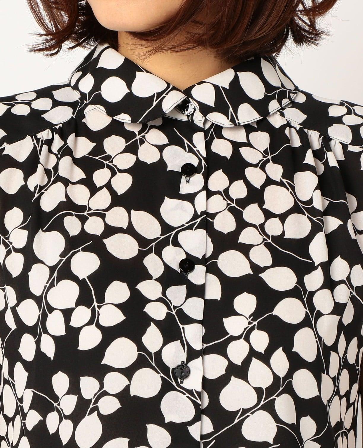 《セットアップ対応》バイカラーリーフプリントジョーゼットノースリーブシャツ