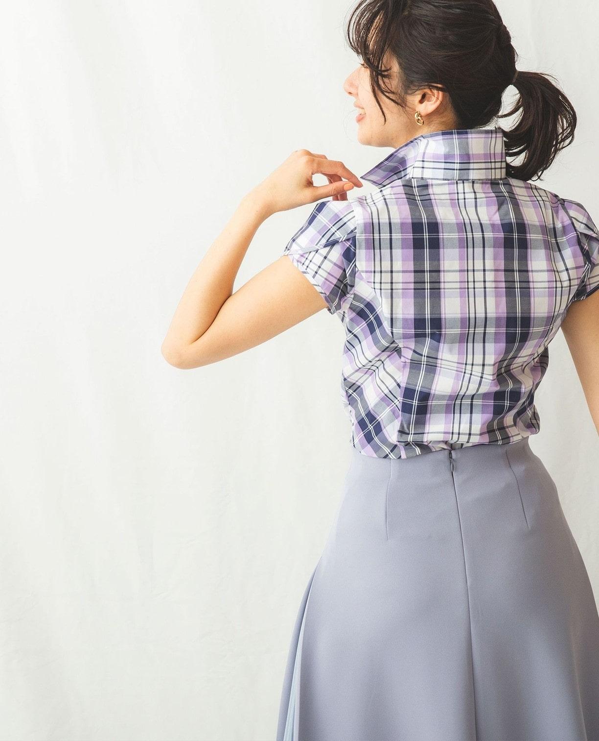 サマーチェックチューリップスリーブ半袖シャツ
