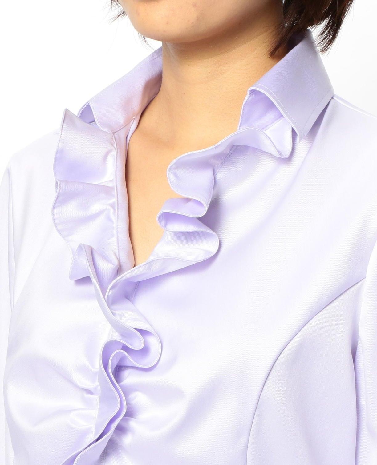 コットンツイル衿付フリル長袖シャツ