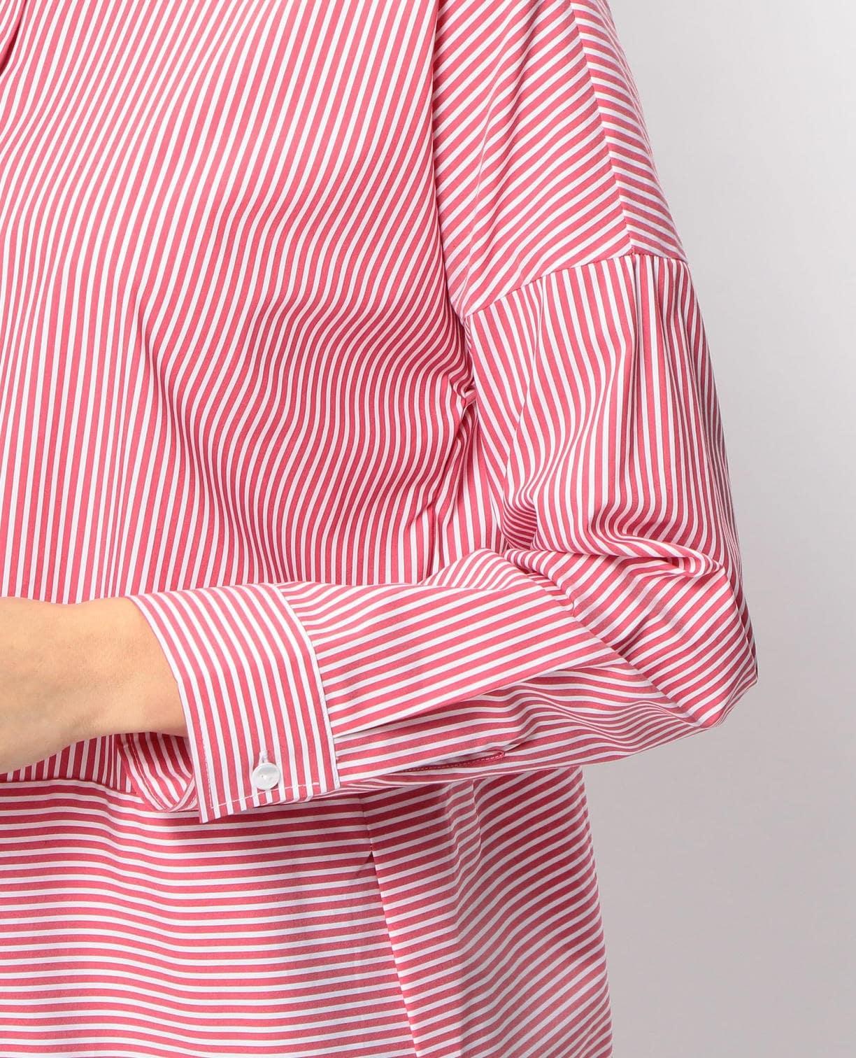 ストライプ切替長袖ビックシャツ