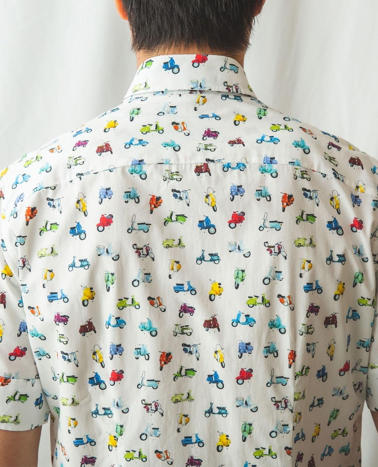 バイク柄半袖シャツ