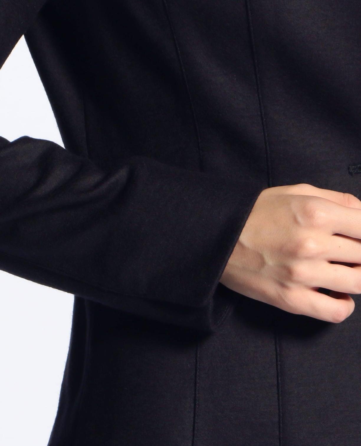 《セットアップスーツ対応》圧縮ウールノーカラージャケット