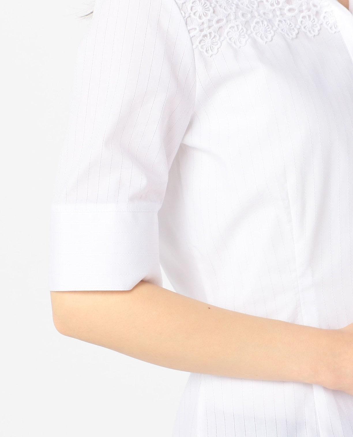 アイレットストライプスタンドカラー5分袖シャツ
