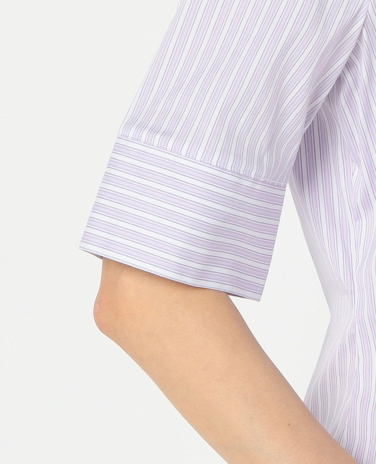 先染めストライプヨークレーススタンドカラー5分袖シャツ