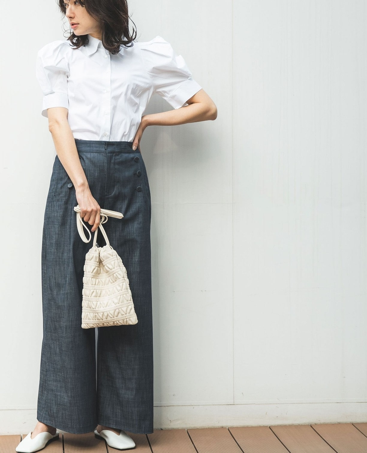 綿系タックパフスリーブシャツ