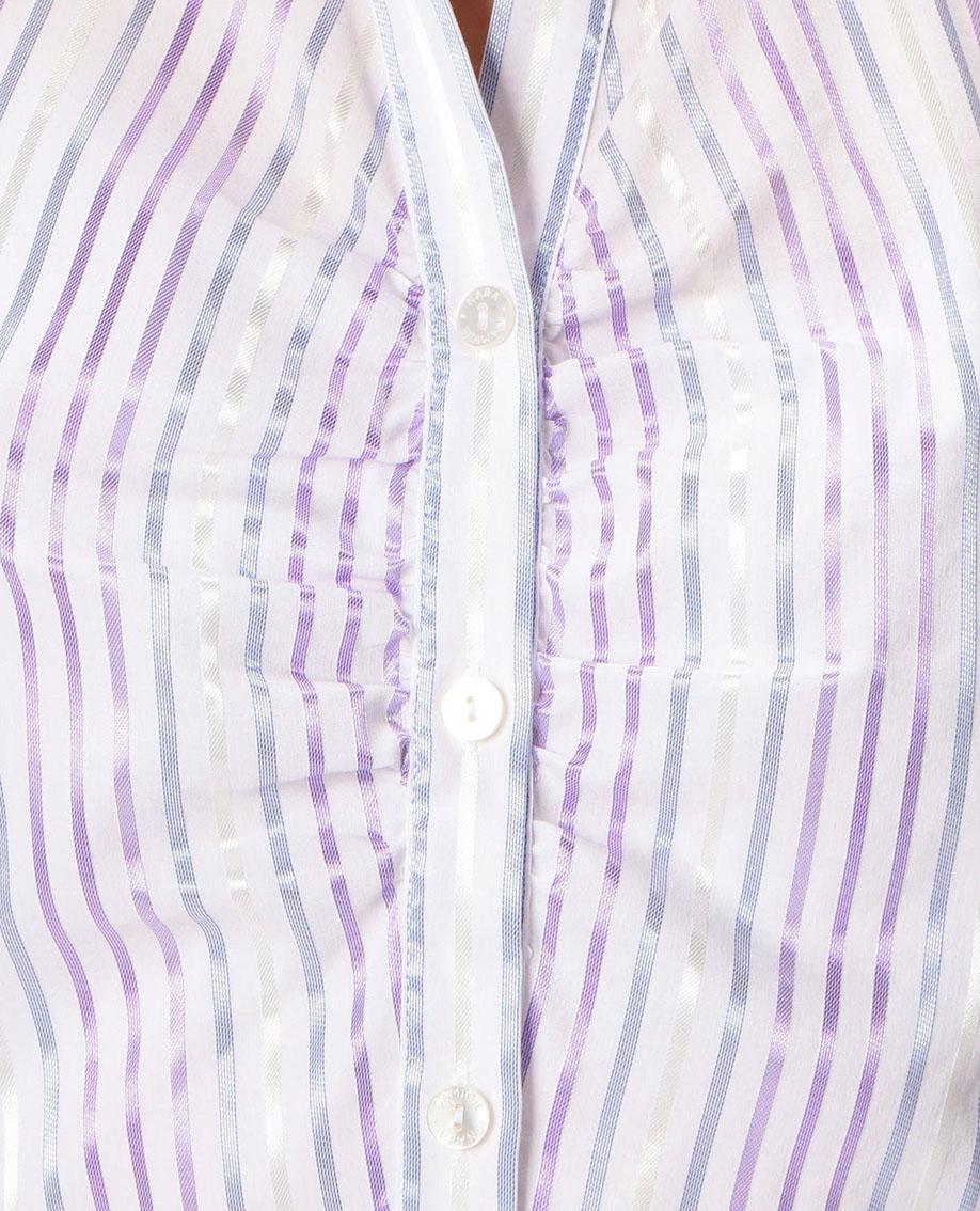 イタリアンストライプスタンドカラー七分袖シャツ
