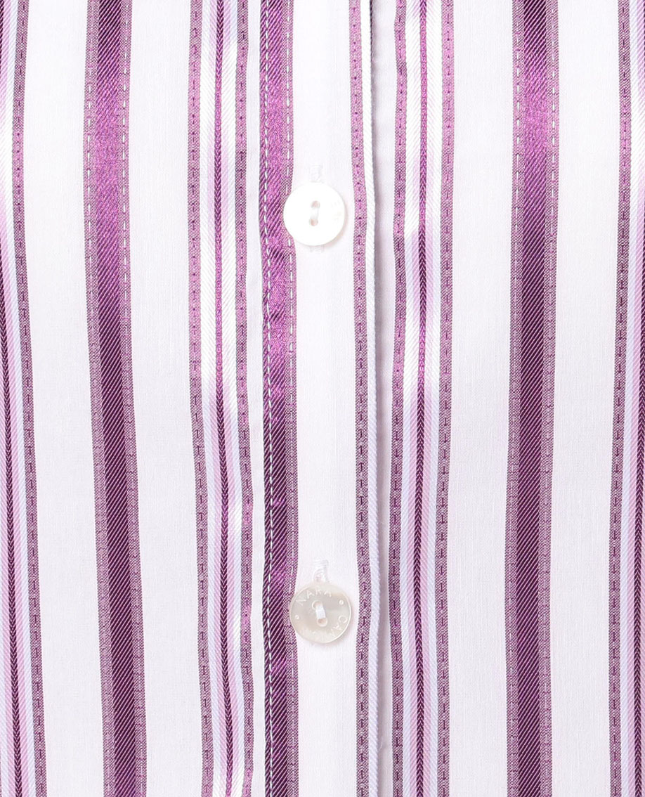 イタリアンストライプスタンドカラー半袖シャツ