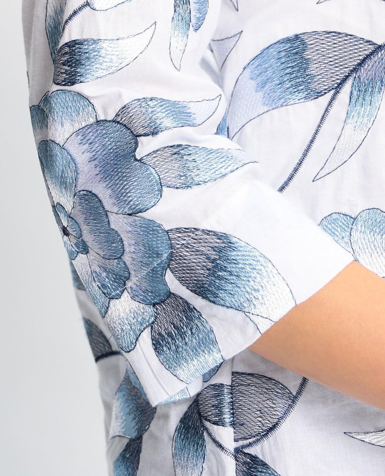 エンブロイダリーフラワー七分袖シャツ