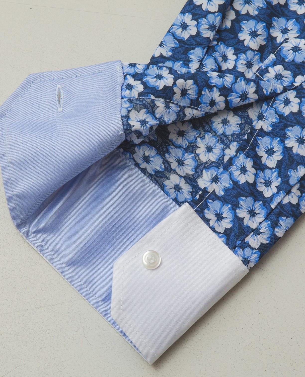 総柄長袖ボタンダウンシャツ