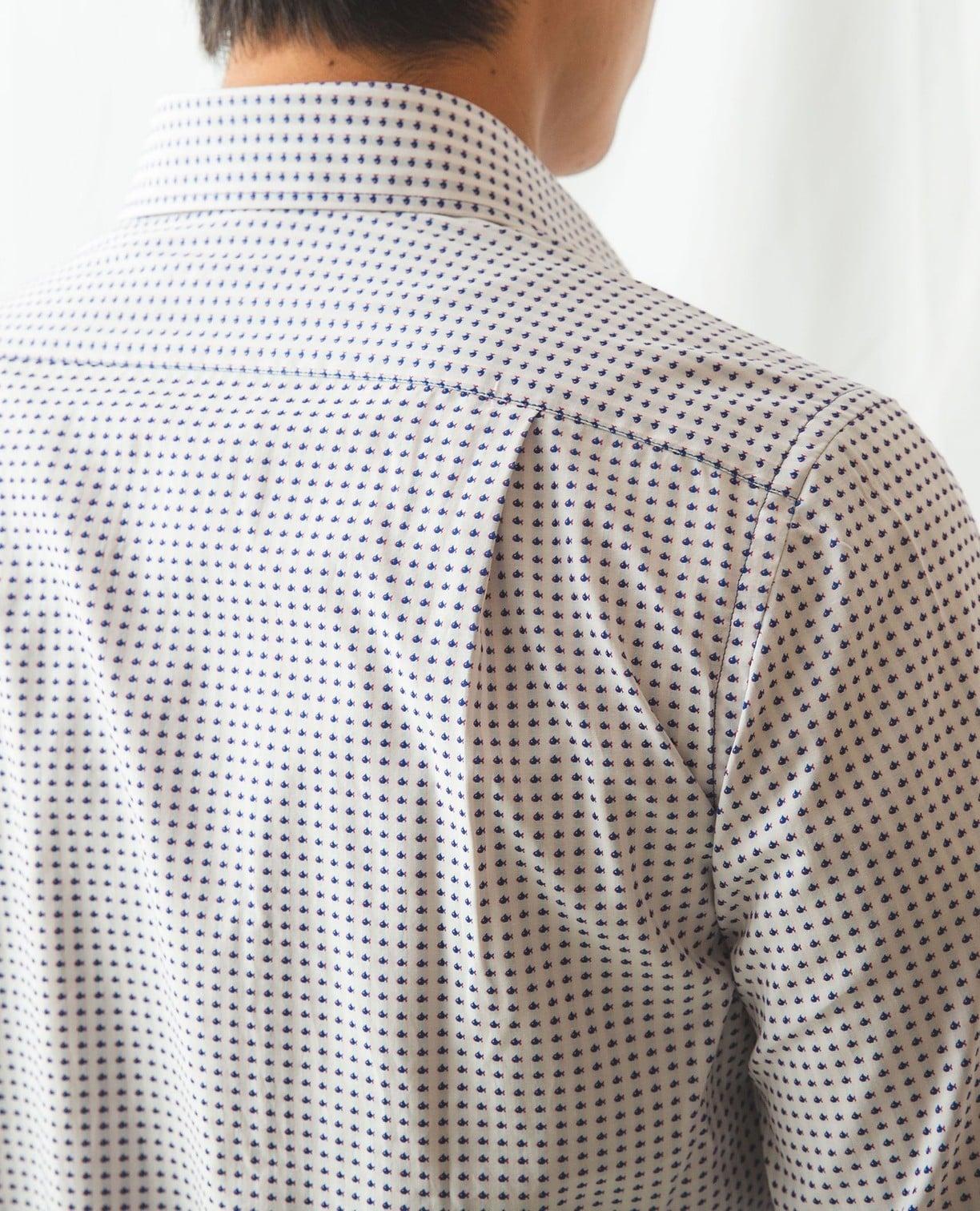 小柄ジャカード長袖シャツ