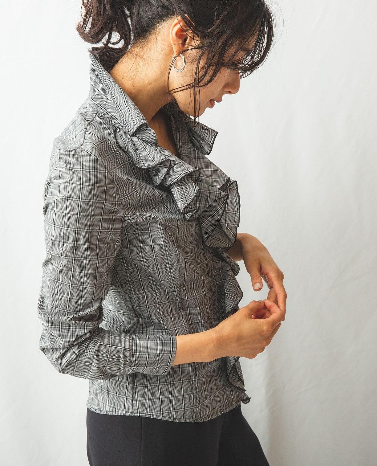 先染めチェック襟付きフリル長袖シャツ